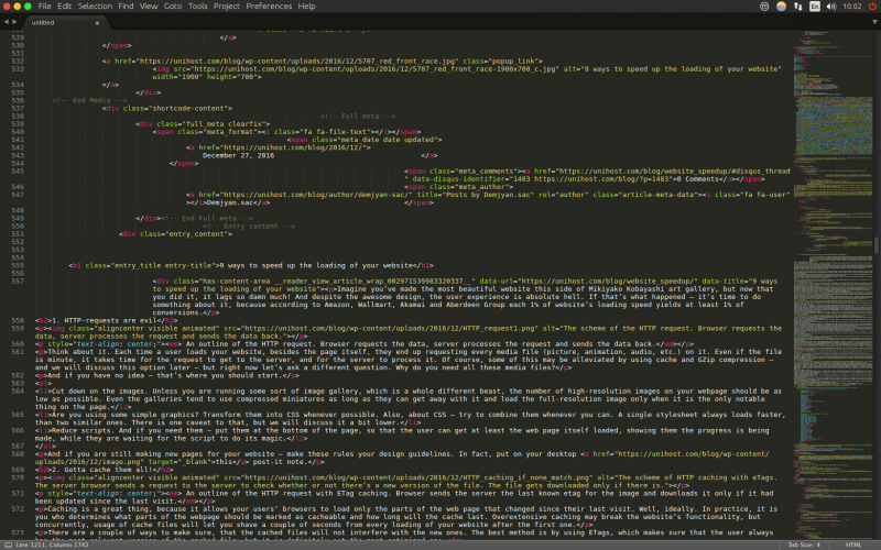 HTML-код этой страницы, показанный в редакторе Sublime Text 3.