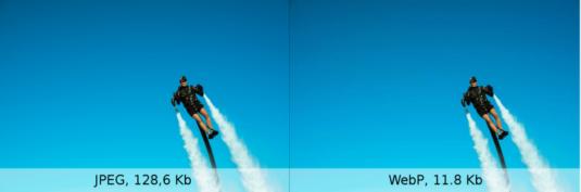 Сравнение между JPG и WEBM. Заметьте меньший размер файла на правой картинке.