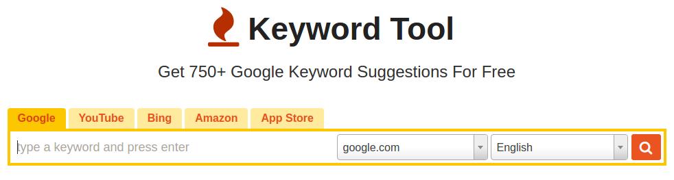 KeywordTool.io's Main Page