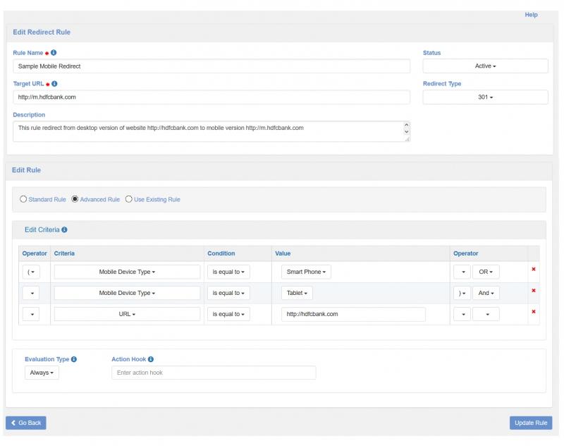Пример перенаправления на мобильную версию сайта, настроенного в панели управления.