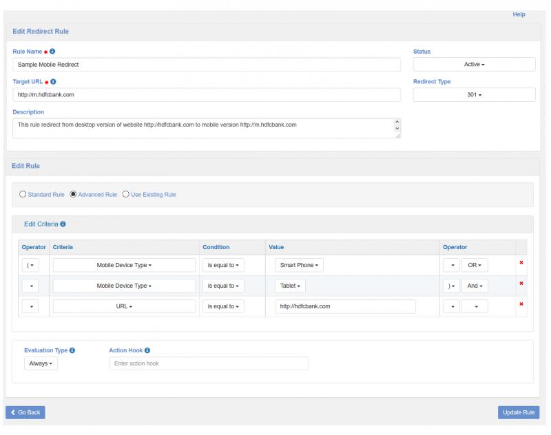 ример перенаправления на мобильную версию сайта, настроенного в панели управления.