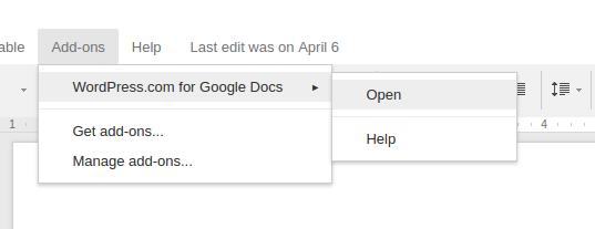 Wordpress for Google Docs Addon Menu