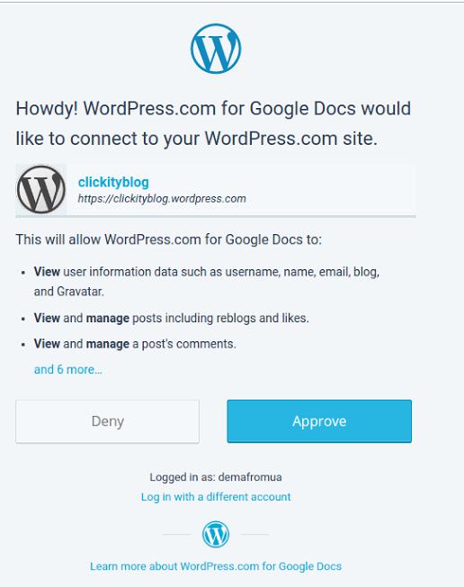 Wordpress for Google Docs разрешение Вордпресс