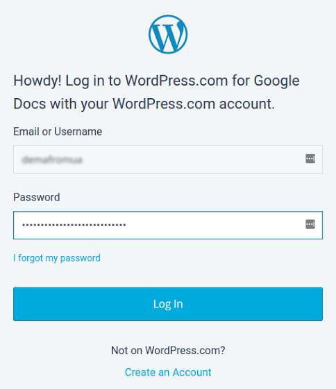 Wordpress for Google Docs Вордпресс логин