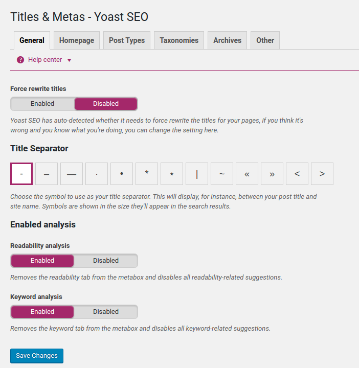 Meta-tags settings in Yoast