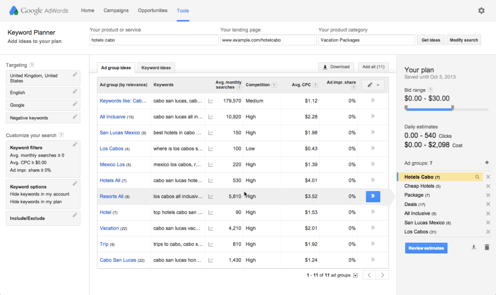 Google Keyword Planner's Search Results