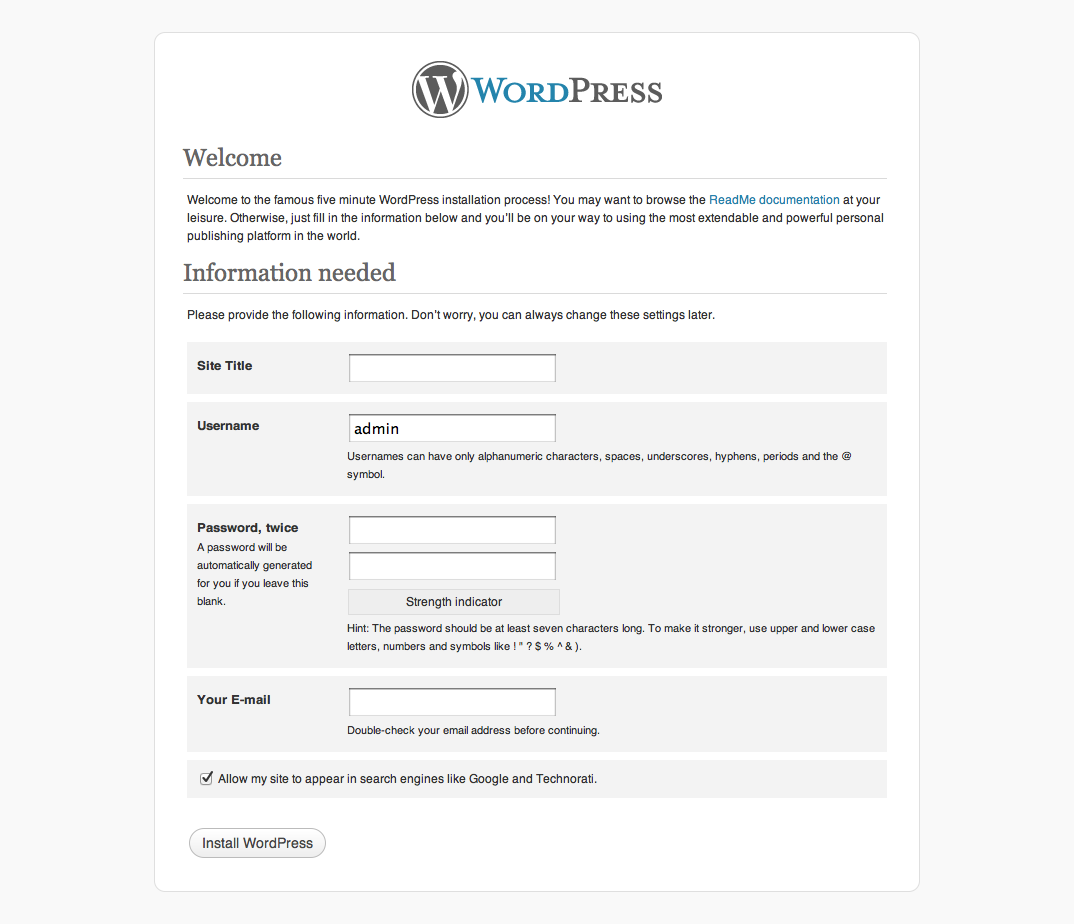 Final WordPress installation screen