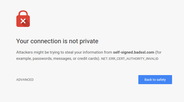 A bad SSL connection page