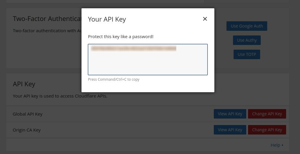 Ключ API Cloudflare