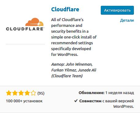 Активация плагина Cloudflare
