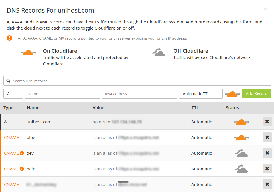 Checking the DNS records at Cloudflare