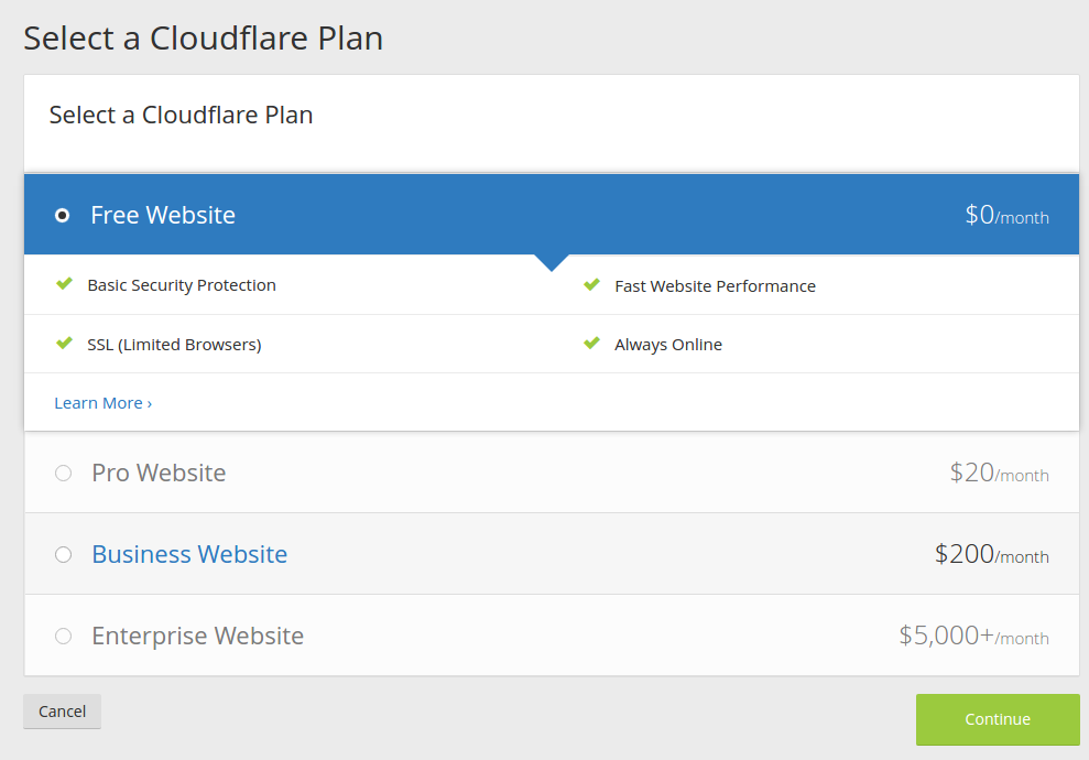 Choosing the Cloudflare pricing plan