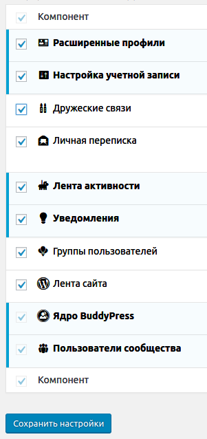 компоненты BuddyPress