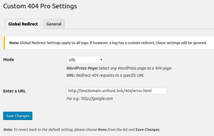 custom 404 settings