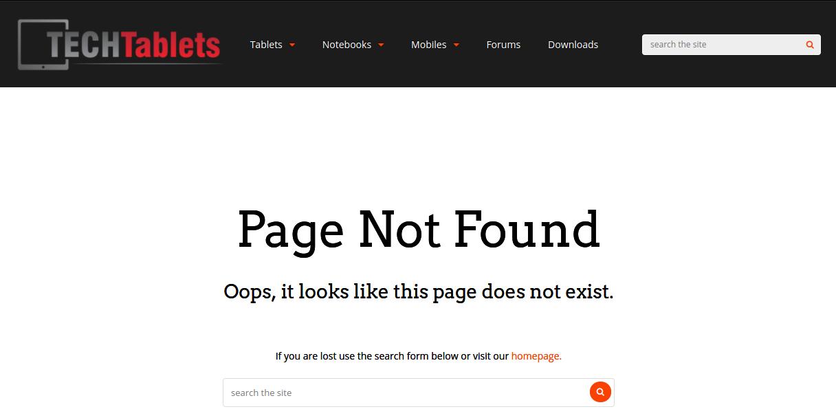 An error page on a tech blog Techtablets