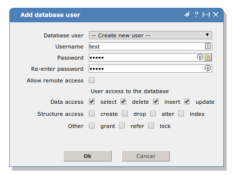 How to create database user?