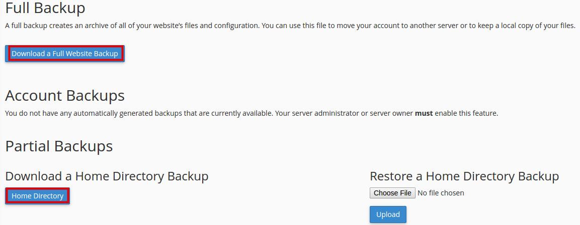 download backup