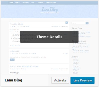 Activating a theme on a website